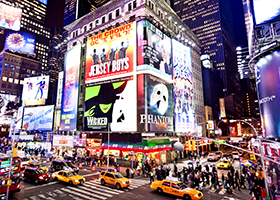 Illuminated Broadway theatres on Times Square