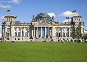 Reichstag with people, Berlin