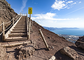 stairs to the top of volcano crater at mount vesuvius, italy